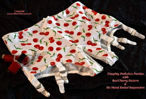 Open Crotch Peekaboo Panties with 6 Metal Suspenders White & Red Cherry Pattern UK 10 to 24
